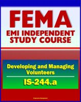 Cover for '21st Century FEMA Study Course: Developing and Managing Volunteers (IS-244.a) - VOADs, NGOs, Case Studies, Interviews, Evaluations'