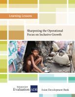 Cover for 'Sharpening the Operational Focus on Inclusive Growth'