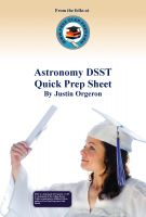 Cover for 'Astronomy DSST Quick Prep Sheet'