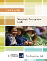 Cover for 'Learning Lessons: Managing for Development Results'