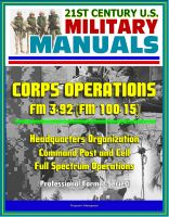 Cover for '21st Century U.S. Military Manuals: Corps Operations FM 3-92 (FM 100-15) - Headquarters Organization, Command Post and Cell, Full Spectrum Operations (Professional Format Series)'