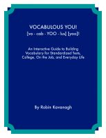Cover for 'Vocabulous You! An Interactive Guide to Building Vocabulary for  Standardized Tests, College, On the Job and Everyday Life'