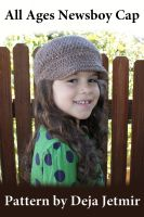 Cover for 'All Ages Newsboy Cap Crochet Pattern'