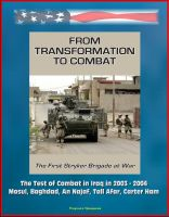 Cover for 'From Transformation to Combat: The First Stryker Brigade at War - The Test of Combat in Iraq in 2003 - 2004, Mosul, Baghdad, An Najaf, Tall Afar, Carter Ham'