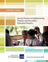 Cover for 'Learning Lessons: Success Factors in Implementing Primary and Secondary Education Projects'