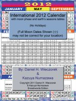 Cover for '2012 International Calendar With Moon Phase Table'