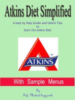Cover for 'Atkins Diet Simplified With Sample Menus : A step by Step Guide and Useful Tips to Start the Atkins Diet'
