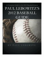 Cover for 'Paul Lebowitz's 2012 Baseball Guide'