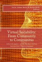 Cover for 'Virtual sociability: From Community to Communitas'