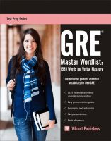 Cover for 'GRE Master Word List: 1535 Words for Verbal Mastery'
